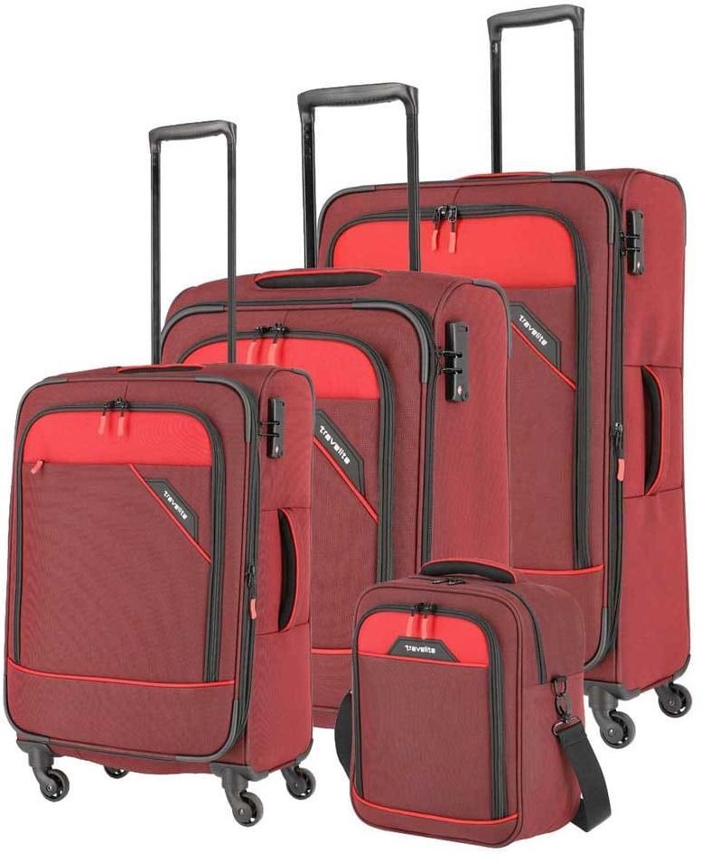 Travelite Derby Trolley-Set 4tlg S-M-L und Bordtasche Rot Praktische Reisetrolleys