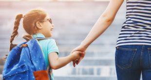 Mutter und Kind mit Schulranzen - Mitwachsende Schulranzen