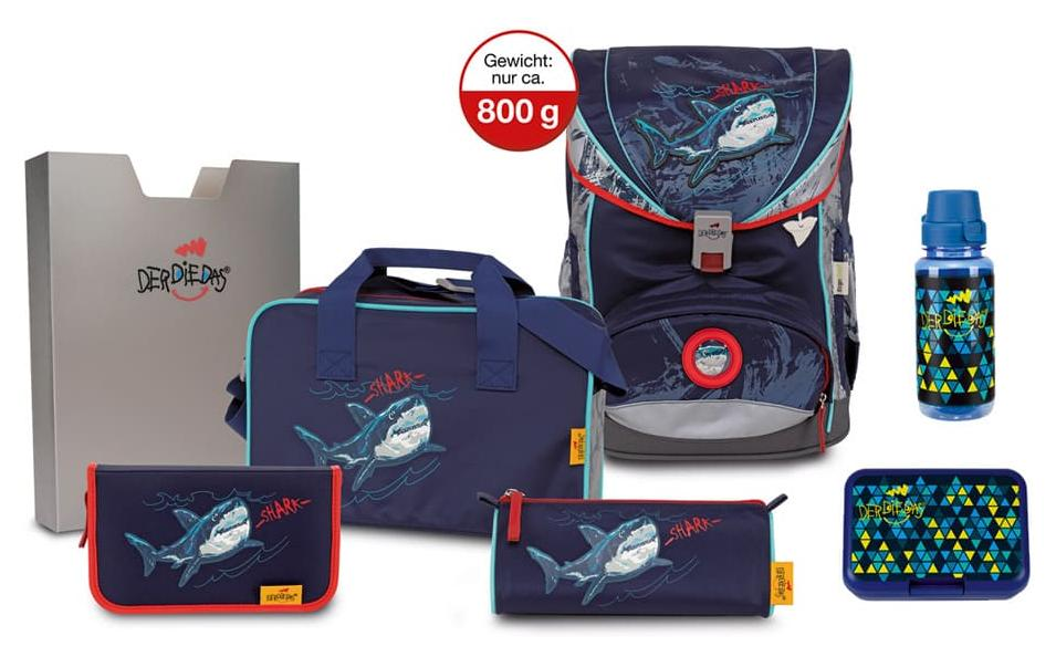 DerDieDas ErgoFlex Superflash Schulrucksack-Set 5tlg Blue Shark